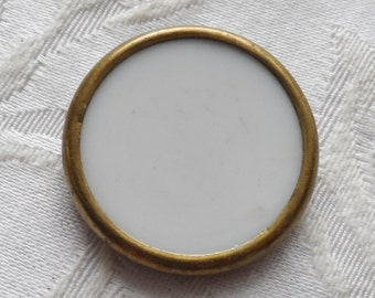 1 Antique Victorian White Glass Inlay  Button- 27mm, Fabric Shank, c.1800's