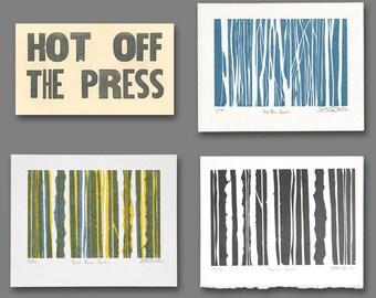 Three-Pack of Vertical Spectrum Letterpress Linoleum Prints