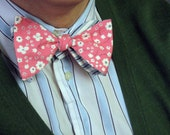 Reversible Bow Tie - Wide - Blue Striped and Pink Floral