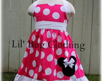 Hot Pink Jumbo Minnie Mouse Dress, Minnie Mouse Birthday Girl Dress, Custom Boutique Minnie Mouse Dress
