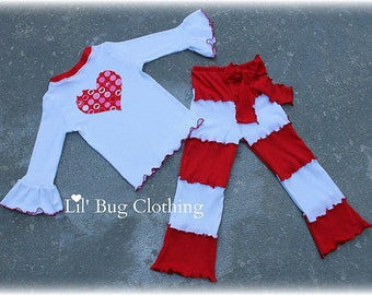Custom Boutique Clothing Valentines Day Lettuce edge Pant And Tee Red Pink  White Heart Outfit