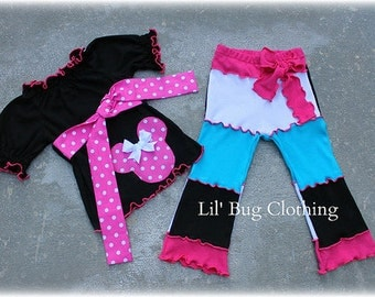 Minnie Mouse GirlOutfit, Lettuce Edge Minnie Mouse Knit Pant Peasant Top Outfit, Minnie Mouse Birthday Girl Outfit
