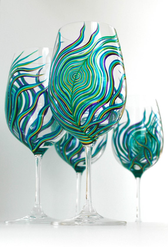 Peacock Feather Wine Glasses - Hand Painted Wine Glasses Set of 4 Peacock Glasses