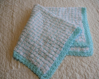 Crochet Baby Afghan White and Mint
