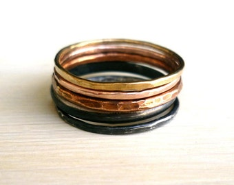 Ombre Rings - Rustic Rings - Five Stacked Rings - Oxidized Rings - 5 Rings - Earthy Rings - Handmade Rings - Made In Brooklyn - Andyshouse
