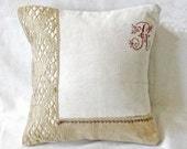 French country 13x13 initial pillow made of antique hand loomed fabric and antique french dish towel - decorative accent pillow