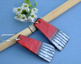 Red Torched Fired Enamel Earrings with Black and White Stripes