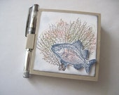 Post It Note Holder with Gel Pen Swimming Fish