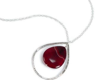 Brazilian Agate Necklace. Banded Brazilian Agate, Carnelian, Forged Sterling Silver Teardrop Statement Necklace. Teardrop Jewelry 19.75 Inch