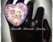 SALE Fantasy Unicorn Pony Fairy Kei Lavender Kawaii Collage Sparkle Heart Ring