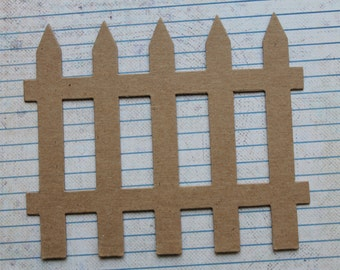 3 Large Fence Bare chipboard die cuts 5 1/4 wide x 4 3/8 inches tall