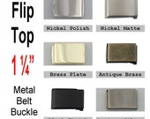 """1 BUCKEL - 1 1/4"""" - Military Belt Buckle, 1 1/4 inch, 1.25, FLIP Top Style with TIP, Your Choice"""