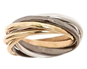 Custom 7 Band Men's Wedding Nest Ring Solid 14k Yellow & White Gold