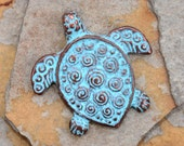 1 Green Patina Spiral Turtle Pendant