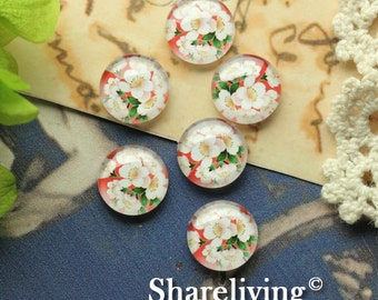 Glass Cabochon, 8mm 10mm 12mm 14mm 16mm 20mm 25mm 30mm Round Handmade photo glass Cabochons ( Floral )   -- BCH207R