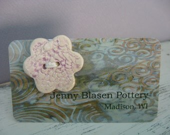 Button - Lavender Purple Ceramic  Button - Flower Button