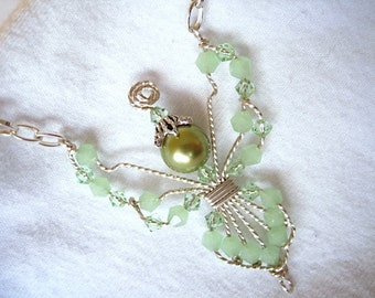 ON SALE - Mint Greeni Bicone Beaded Wire Wrapped Angel  Handmade Silver Chain Necklace