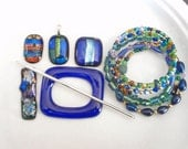 DESTASH SALE.  Cobalt Blue and Green Glass Jewelry Lot