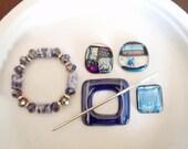 DESTASH SALE.  Purple/Blue Dichroic and Glass Jewelry Lot