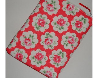 Kindle 6 Wi-Fi Paperwhite or Kindle Touch Case Cover Sleeve Cath Kidston Provence Rose Red Fabric