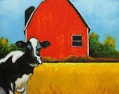 Cow and Barn painting 9 30x30 inch original animal farm portrait oil painting by Roz