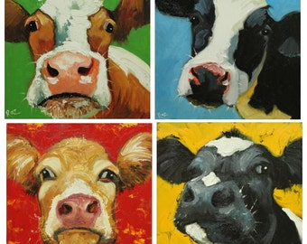 Commission your own four Cow paintings 12x12 inches each, by Roz