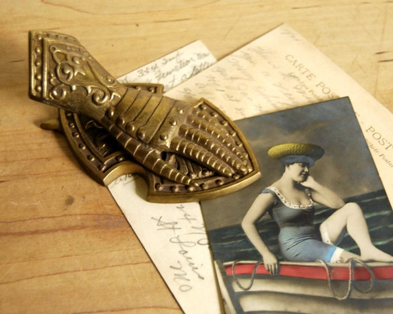 Vintage brass paper clip hand in armor by calloohcallay on for Decorative crafts inc brass