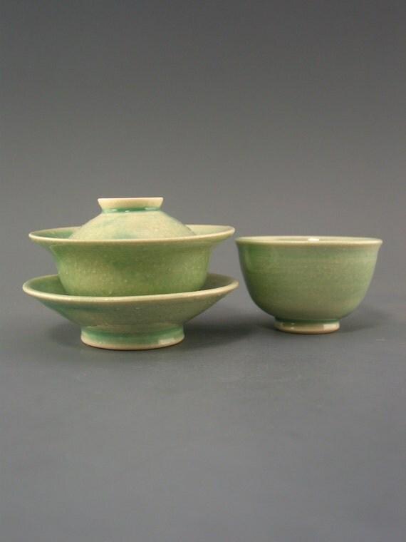 Gaiwan and Cup Set (50 ml), stony textured pocelain w/ celadon glaze