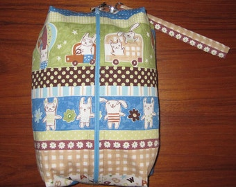 Deluxe Baby Changing Travel Set with Attached Changing Mat and Wrist Strap Japanese Rabbit Animal Design