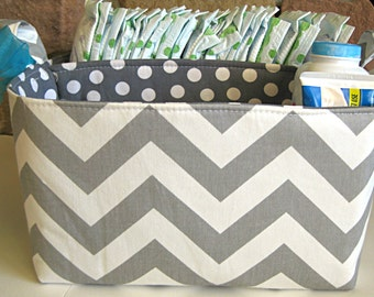 "Diaper Caddy 10""X11""X6"" - Grey Chevron- Fabric Storage Bin- Organizer- PERSONALIZE it"