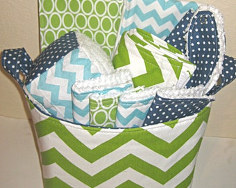 Deluxe Green Chevron Stripe Baby Gift Basket--- Burp Cloth Set of 2, Bib, Changing Pad, Rattle Block, Wash Cloth Set of 4, Fabric Basket