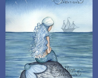 Alone Blue Mermaid  Print from Original Watercolor Painting by Camille Grimshaw