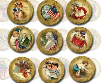 PaTRIOTIC/Americana Art - 1 inch Circles, Bottlecap Jewelry, Scrapbooking -Vintage ILLusTraTioNs- Printable Collage Sheet JPG Digital File