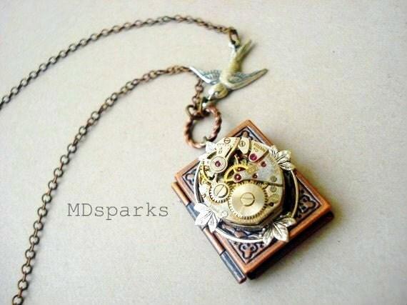 Steampunk Book Necklace a Locket in Copper
