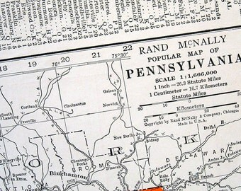 Pennsylvania State Map, Oregon State Map - 1942 Vintage Map from World Atlas 2 Sided