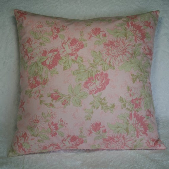 20 Inch Throw Pillow Covers : 20X20 Inch Decorative Throw Pillow Cover Pink Shabby Flower
