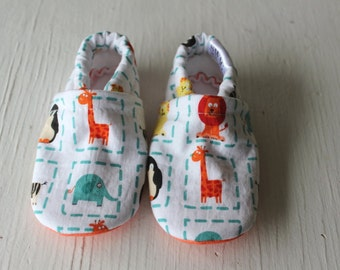 Animal boy baby booties shoes infant newborn giraffe lion penguin zebra elephant  non slip Soft Soled Shoes orange blue baby slippers SWAG