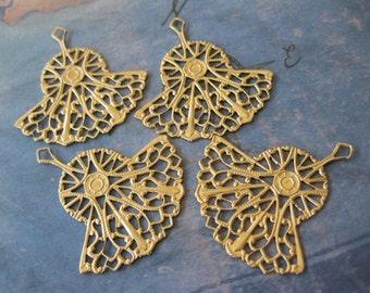 2 PC Brass lace filigree fan drop - UU21