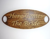 WEDDING SIGN Here Comes The Bride - Wooden Carved Brown Gold Rustic Elegant Casual Photo Prop Ring Bearer Flower Girls