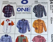 Vintage Sewing Pattern McCall's 7834  Men's Shirts Chest 34 36 Uncut  Complete