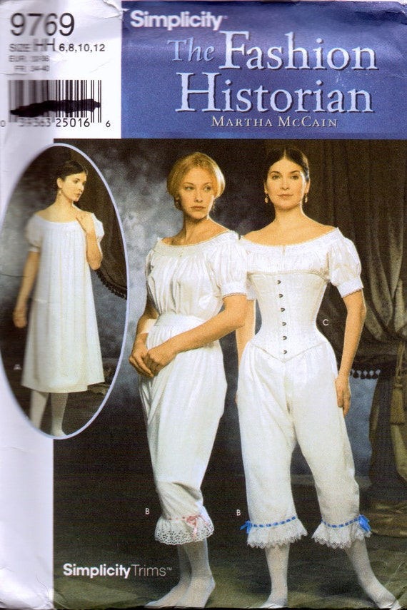 Sewing Pattern Simplicity 9769 Misses' 19th Century Civil War Undergarments Sizes 6-12 Uncut Complete FF