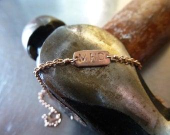 14kt Rose Gold Vintage inspired personalized name plate bracelet