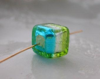 Venetian Murano Glass Tricolor Cube Bead