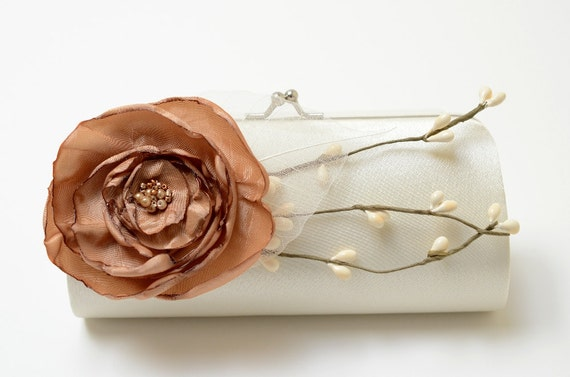 Ivory & Latte Bridal Clutch or Bridesmaid Clutch - Rustic Cottage Country Chic Woodland - Shabby Chic Bouquet Clutch