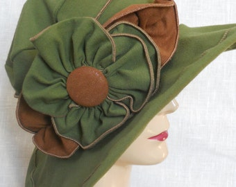 Ladies Travel Hat - Organic Fabric Sun Hat - Edwardian Style - Moss and Brown - Traveling Mabel