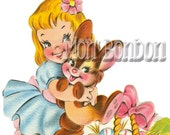 Cute Retro Girl with Easter Bunny Clip Art Illustrations .PnG and .JPG - DiY Printable - INSTANT DOWNLOAD