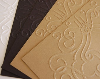 10 Beautiful Embossed Notecard Papers for cardmaking, scrapbooking, journaling, paper crafts 5x7