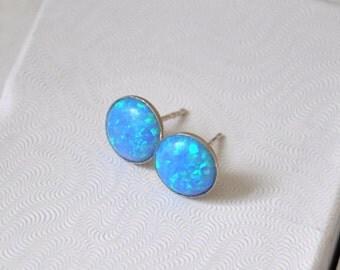 Opal Earrings, Sterling Silver, Opal Stud  Earrings, Australian Opal, Blue Earrings, Opal Jewelry, 925 Silver