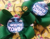 Handmade Kelly Green Ribbon Bow Hair Clips with Vintage 1950's Rockabilly Horror Movie Poster Center White Zombie