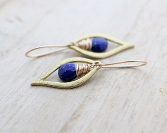 Lapis Lazuli Dangle Earrings, Gold Filled, Leaf, As Seen On The Vampire Diaries, Handmade Fashion - Dew